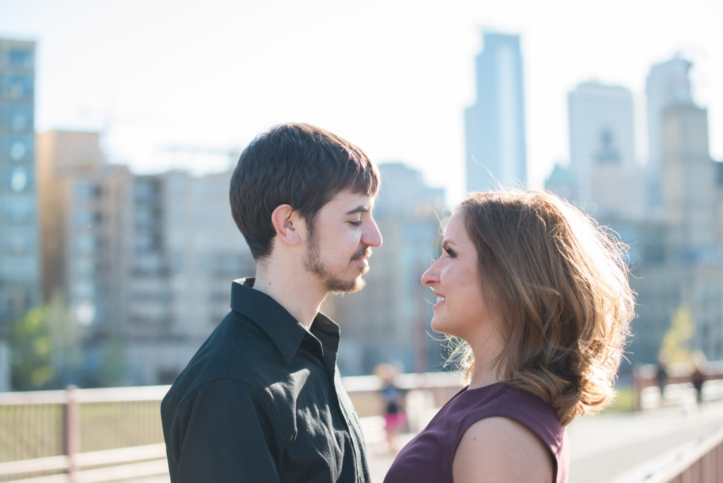 Jacqueline and Alex's spring engagement session at Stone Arch Bridge in Minneapolis, MN